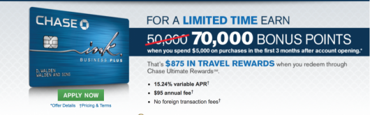 CHASE INK PLUS 70,000 BONUS POINTS – ENDING TODAY MAYBE!!!