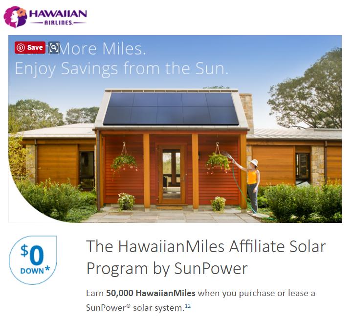 Earn 50,000 Hawaiian Miles with SunPower Solar