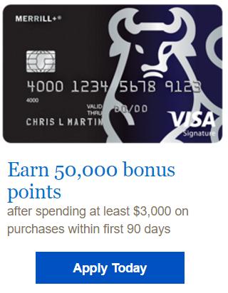 $500 Bonus – Merrill Visa Signature Credit Card 50,000 Bonus Points