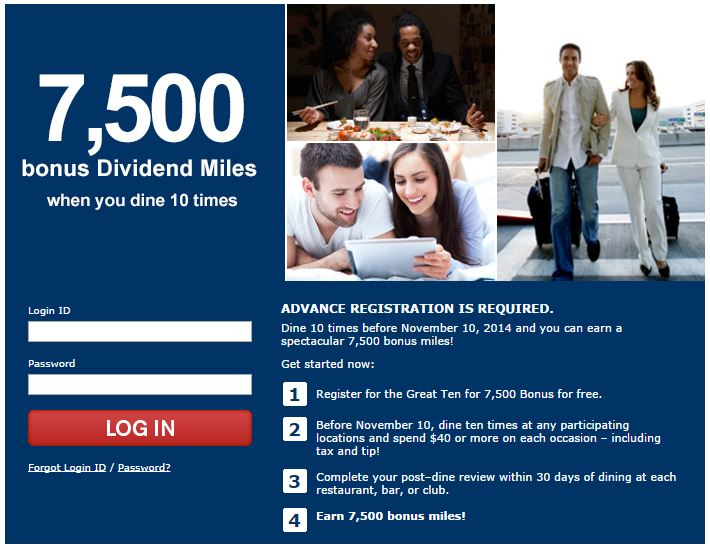 7,500 US AIRWAYS FOR 10 DINES FROM DIVIDEND MILES DINING (TARGETED)