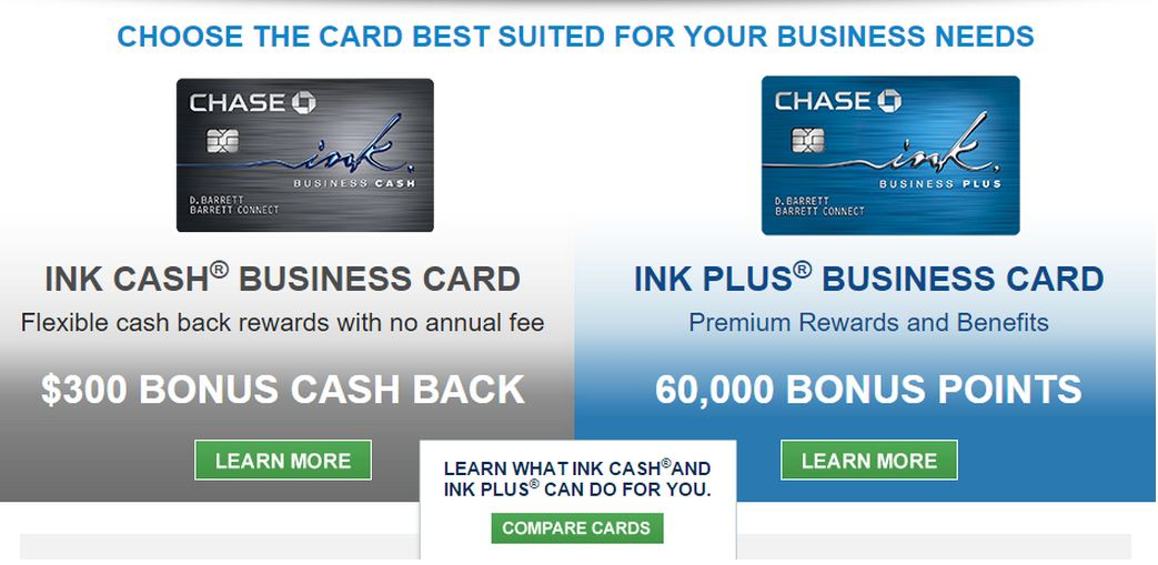 CHASE INK PLUS & INK CASH BONUS INCREASED – 60,000 & 30,000 points