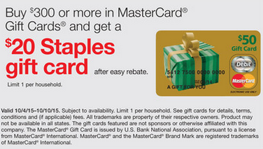 ALMOST FREE MONEY & POINTS:  $20 STAPLES GIFT CARD FOR $300 MASTERCARD PURCHASE