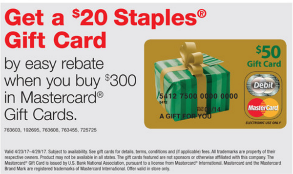 $20 Staples Gift with $300 Mastercard Purchase