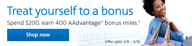 Earn 400 Bonus Miles with American Airlines Miles Spring Shopping Bonus