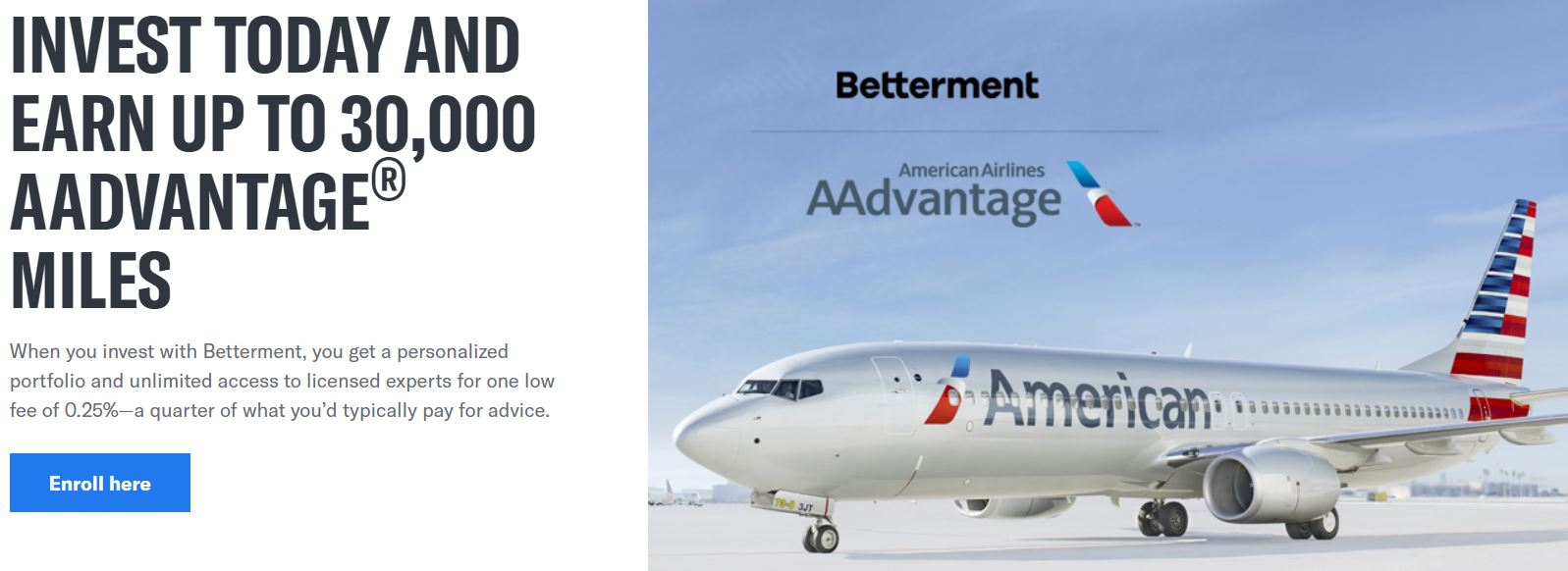 Betterment - American Airlines 30,000 miles