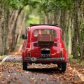 Fiat on a countryside road in Italy
